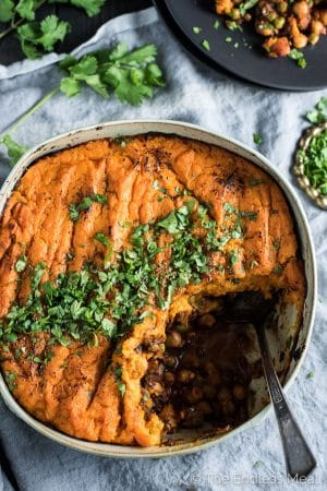 Curried Vegan Shepherd's Pie with Coconut Sweet Potato Topping