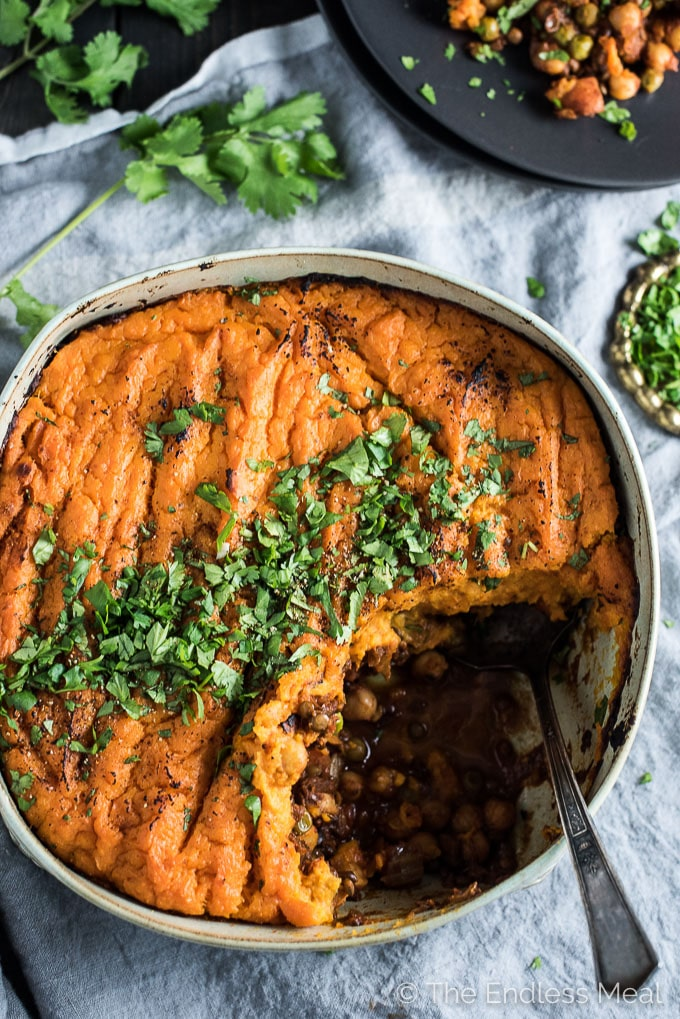 Curried Vegan Shepherd S Pie With Coconut Sweet Potato Topping The Endless Meal