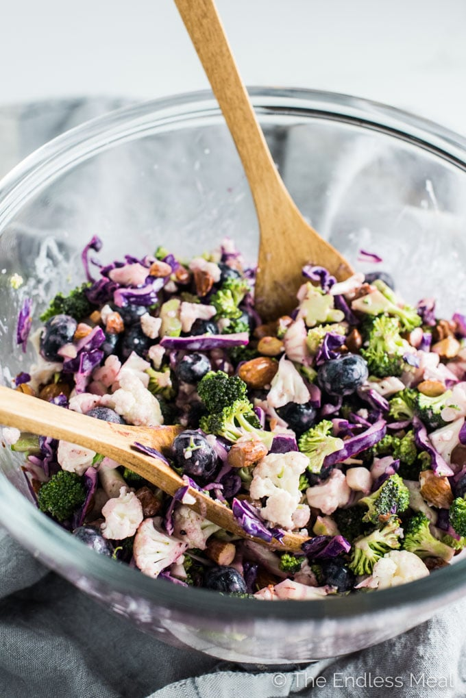 This easy to make Broccoli Cauliflower Coleslaw is dotted with sweet blueberries and crunchy chopped almonds. It's a delicious and healthy side dish recipe that is gluten-free + paleo + Whole30 and can easily be made vegan. | theendlessmeal.com