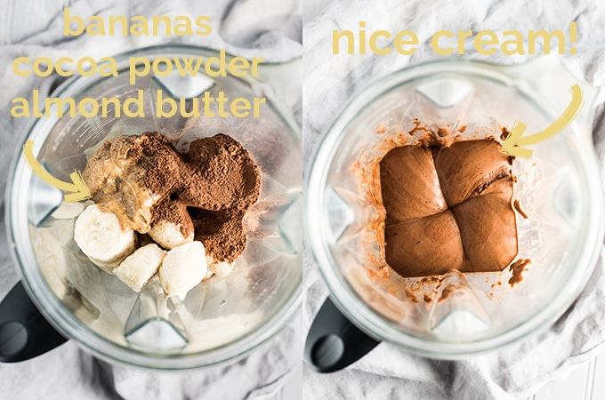 Almond Chocolate Nice Cream is as dreamy and delicious as it gets. You'd never guess that this easy to make sugar-free + vegan + paleo ice cream is made with only three ingredients and is super healthy, too! | theendlessmeal.com